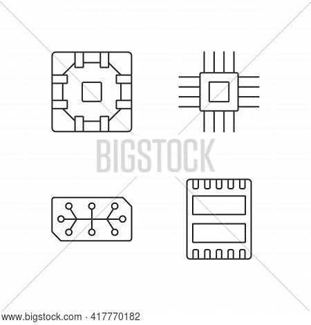 Microcircuits Linear Icons Set. Computer Device Ports. Stable Connection Between Computer Components