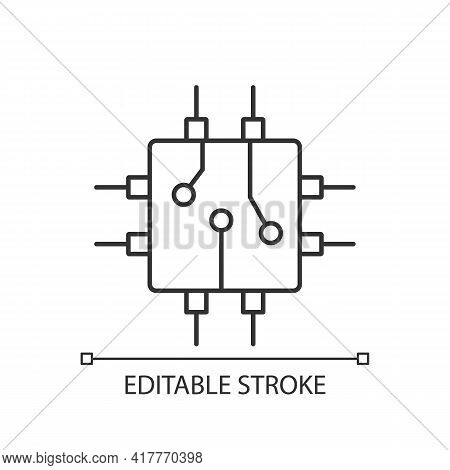 Circuit Board Design Linear Icon. Create Plan How To Place All Microprocessors On Circuit Board. Thi