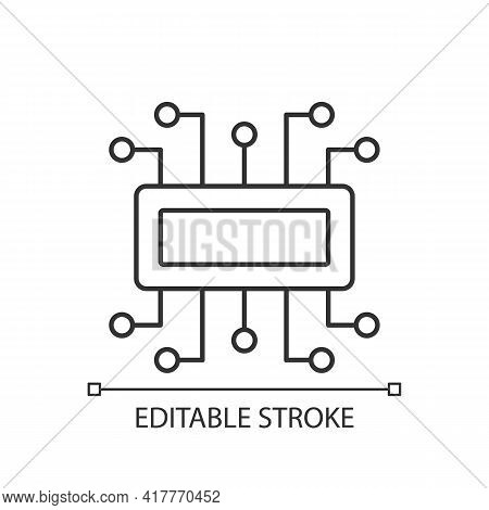 Microcontroller Linear Icon. Computer Created On Metal Semiconductor Integrated Circuit Chip. Thin L