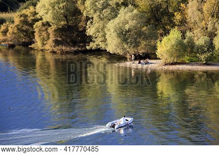 Sesto Calende (va), Italy - September 15, 2016: The Ticino River View From The Riverside, Lombardy,
