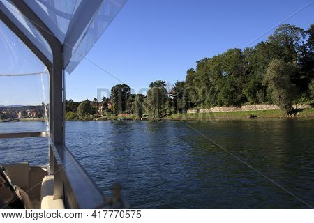 Sesto Calende (va), Italy - September 15, 2016: The Ticino River View From A Tourist Boat, Lombardy,
