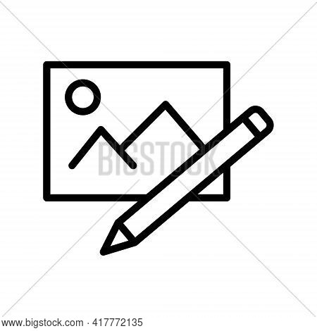 Edit Picture Flat Line Icon. Vector Outline Illustration Of Edit Photo. Outline Sign For Web Interfa