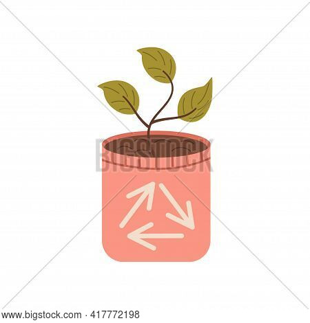 Zero Waste, Pot With Leaves Isolated On A White Background. Recycling Of Garbage, Natural Products,
