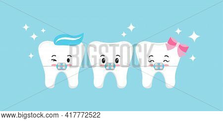 Cute Tooth With Dental Braces Emoji Character.