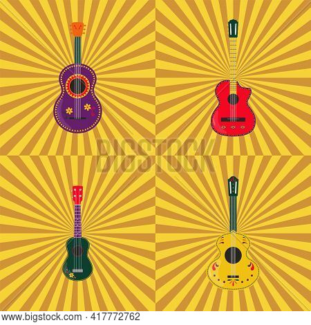 Mexican Guitars Seamless Pattern, Background, Poster, Banner. Guitars And Ukulele Decorated With Tra