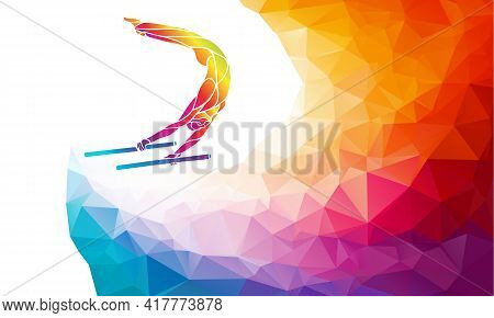 Parallel Bars Male Gymnast In Artistic Gymnastics Vector