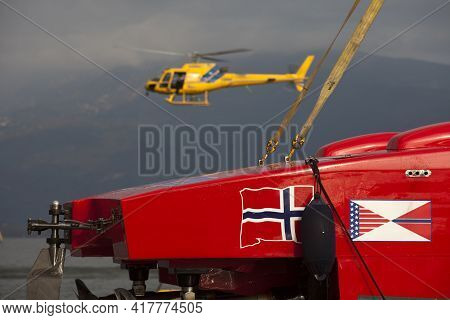 Stresa (vco), Italy - October 04, 2009: A Racing Boat Detail At World Offshore Powerboat Championshi