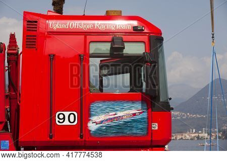 Stresa (vco), Italy - October 04, 2009: A Painted Truck Door At World Offshore Powerboat Championshi