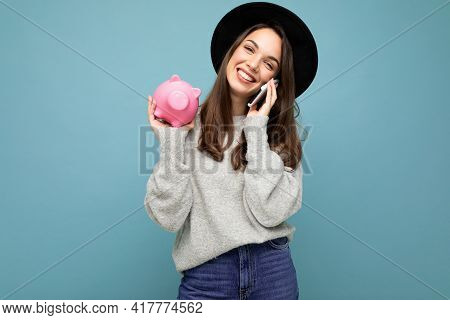 Portrait Photo Of Happy Positive Smiling Laughing Young Beautiful Brunette Woman Wearing Stylish Swe