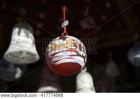 Bolzano (bz), Italy - December 01, 2019: Christmas Decoration At Christmas Market, Bolzano, Alto Adi