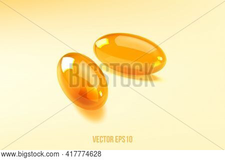 Two Capsules Omega 3 Isolated On Light Background. 3d Vector