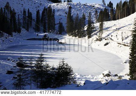Carezza Lake (bz), Italy - December 01, 2019: Carezza Lake, Nova Levante, Bolzano, Alto Adige, Italy