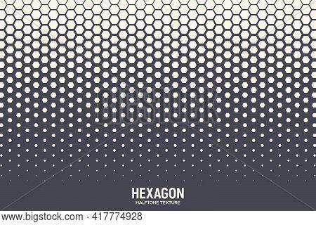 Hexagonal Halftone Texture Vector Geometric Technology Abstract Background. Half Tone Hexagon Retro