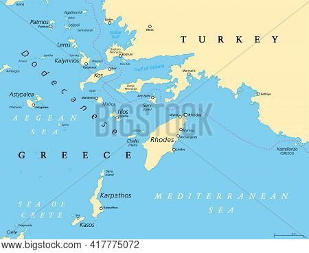 Dodecanese, Political Map. Group Of Greek Islands In The Southeastern Aegean Sea And Eastern Mediter