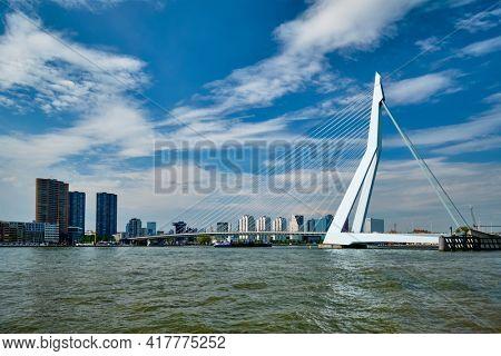 View of Rotterdam over Nieuwe Maas with Erasmusbrug bridge. Rottherdam, the Netherlands
