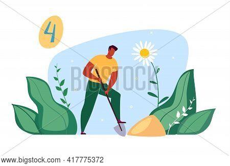 Work In The Park, Garden, Landscape Design, Planting Young Trees, Landscaping. Vector Illustration I