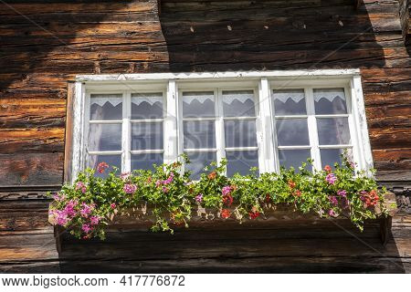 Canza (vco), Italy - June 21, 2020: A Window At Canza Village, Formazza Valley, Ossola Valley, Vco,