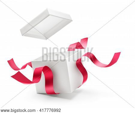 Opened Gift Box With Red Ribbon Isolated On White Background