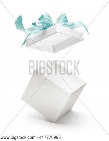 White Open Gift Box Or Present With Blue Ribbon Isolated On White Background