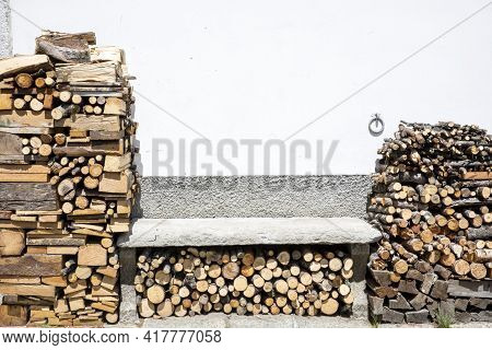 Canza (vco), Italy - June 21, 2020: Firewood At Canza Village, Formazza Valley, Ossola Valley, Vco,