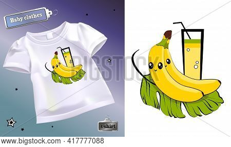 Vector Illustration Of A Children's T-shirt With A Pattern. Isolated Image Of A Print On A T-shirt.
