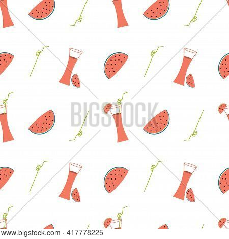 Illustration With Watermelon Cocktail And Watermelon Slices On A White Background. Seamless Vector B