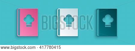 Paper Cut Cookbook Icon Isolated On Blue Background. Cooking Book Icon. Recipe Book. Fork And Knife