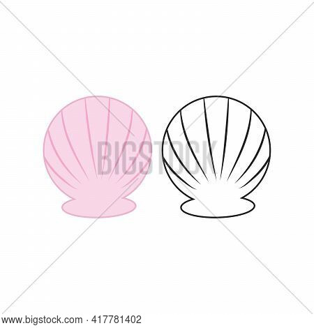 Scallop Shell Logo. Isolated Scallop On White Background Line Effect. Vector Illustration