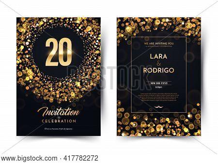 20th Years Birthday Vector Black Paper Luxury Invitation Double Card. Twenty Years Wedding Anniversa