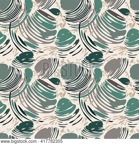 Seashell Abstract Seamless Pattern. Contemporary Marine Illustration, Grey Green Color Palette For W