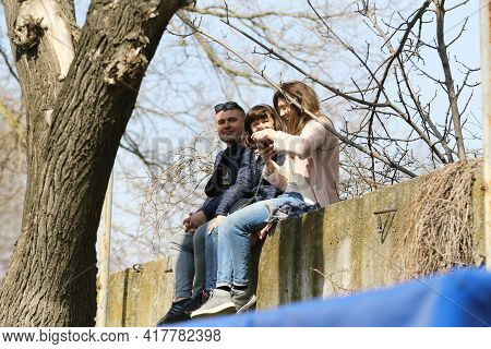 Odessa, Ukraine - April 7, 2021: Parents Of Children's Soccer Team Players Age Of 14 During Ovid19 P