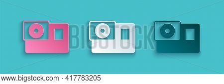 Paper Cut Action Extreme Camera Icon Isolated On Blue Background. Video Camera Equipment For Filming