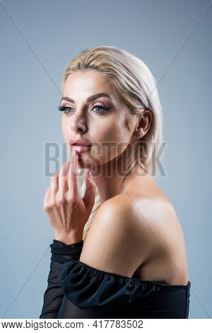 Sexy Lady With Platinum Blonde Hair. Female Beauty And Fashion. Attractive Fashion Model.