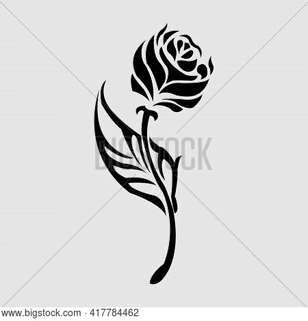 Graphical Flower Illustration. Black Flower, Contour Flower, Bloom Flower, Decorative Flower, Isolat