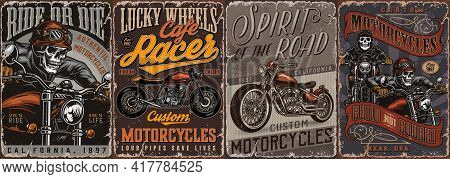 Motorcycle Vintage Colorful Posters With Skeleton Bikers And Cafe Racer Motorbike Vector Illustratio