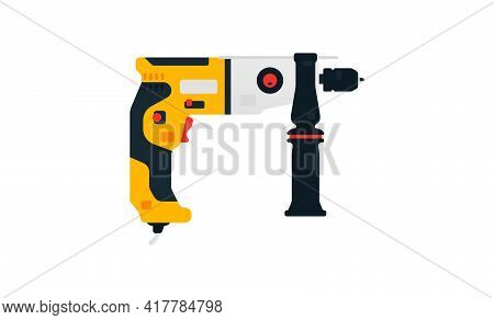 Electric Drill Side View. Power Tool For Construction And Finishing Works. Home Renovation, Carpentr