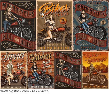 Motorcycles And Pretty Women Vintage Posters With Beautiful Motorcyclist Girls Biker Party And Motor