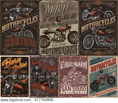 Custom Motorcycle Vintage Posters With Inscriptions Skeleton Moto Riders And Bikers Vector Illustrat