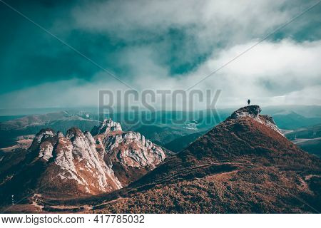 Lonely traveler in Ciucas mountains, Romania. Most scenic mountain from the Carpathians.