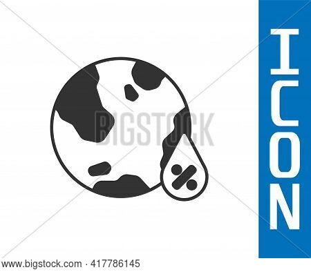 Grey Water Drop Percentage Icon Isolated On White Background. Humidity Analysis. Vector