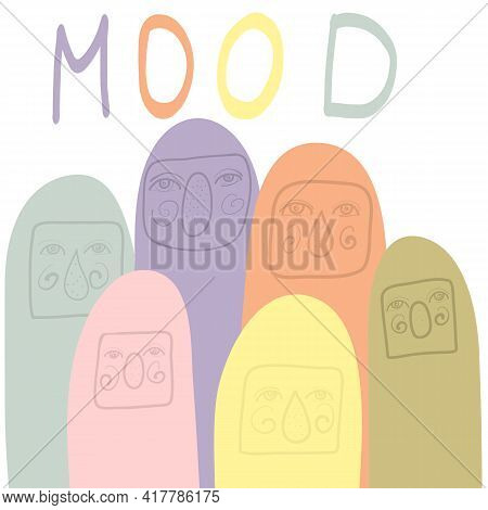 Monster Vector Set. Cartoon With Animated Monsters With Slogan Mood