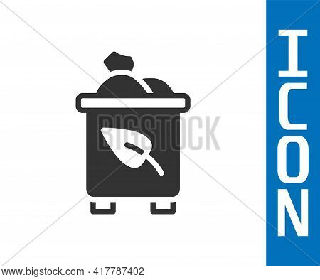 Grey Recycle Bin With Recycle Symbol Icon Isolated On White Background. Trash Can Icon. Garbage Bin