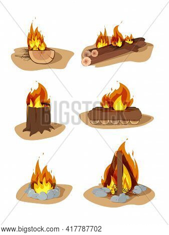 Wood Campfire. Outdoor Bonfire, Fire Burning Wooden Logs And Camping Stone Fireplace. Bonfires Isola