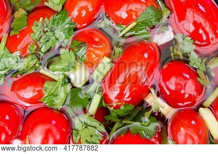 Salted Tomatoes Harvesting. Winter Storage Of Tomatoes. Savory Delicious Dish-salted Tomatoes.