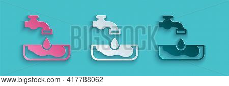 Paper Cut Water Problem Icon Isolated On Blue Background. Poor Countries Environmental Public Health