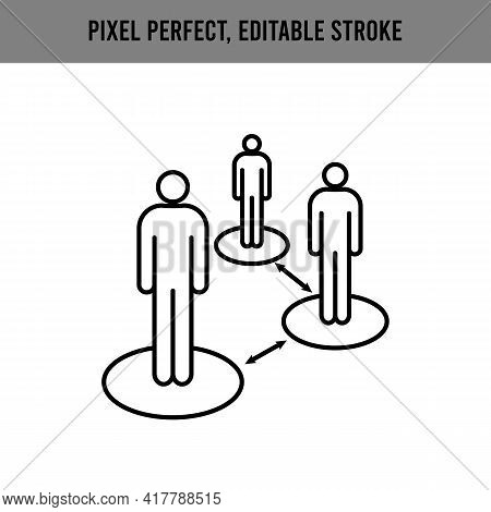 Keep Your Distance. In The Workplace, In A Public Place. Work Safety. Editable Stroke. Information I
