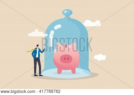 Protect Money From Inflation, Insurance And Financial Security Concept, Businessman Investor Stand W