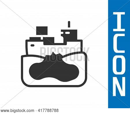 Grey Wrecked Oil Tanker Ship Icon Isolated On White Background. Oil Spill Accident. Crash Tanker. Po