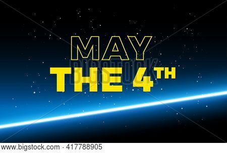 May The 4th Holiday Greetings Vector Background Illustration - Yellow Text