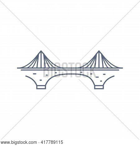 Bridge Line Vector Icon - Suspension Bridge Simple Pictogram In Linear Style On White Background. Ve